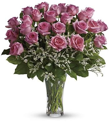 Make Me Blush - Dozen Long Stemmed Pink Roses Flowers