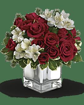 Arrangement floral avec bouquet Rosée de Noël de Teleflora