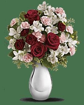 Bouquet Fou de toi avec bouquet de roses rouges de Teleflora