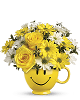 Be Happy Smiley Face Mug Bouquet