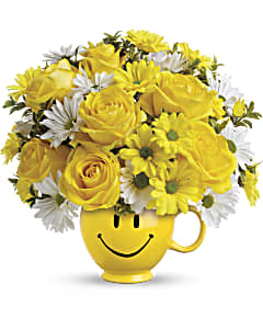 Teleflora's Be Happy® mug bouquet.