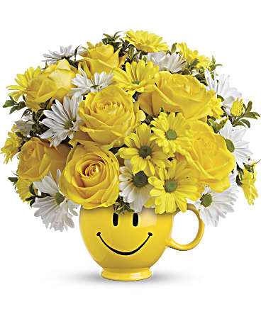 Bouquet In Vase Print Yellow Roses M USA Black
