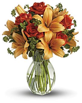 Fiery Lily and Rose Bouquet