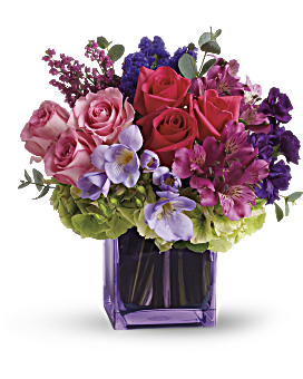 Purple flowers arrangements delivered teleflora quick view exquisite beauty by teleflora bouquet mightylinksfo