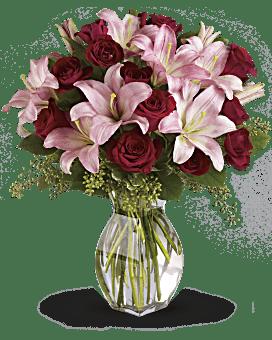 Bouquet Amour raffiné avec bouquet de roses rouges à longues tiges