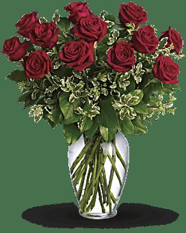 Je pense toujours à toi – bouquet de roses rouges à longues tiges