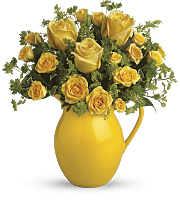 sunny yellow pitcher of roses