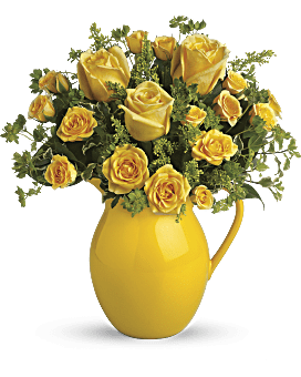 Yellow roses bouquet teleflora quick view telefloras sunny day pitcher of roses bouquet mightylinksfo