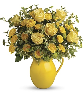 Teleflora's Sunny Day Pitcher of Roses Flowers