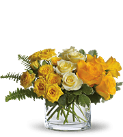 3 shades of yellow Roses in oval vase