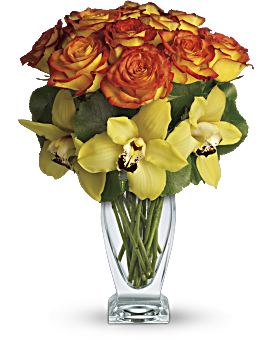 It's a tropical treasure! A stunning modern arrangement featuring one dozen orange bi-color roses and fresh yellow cymbidium orchids, this beautiful bouquet seems to glow with the warm spirit of Aloha. Roses - Aloha Sunset - Orange - Flower Delivery By Teleflora