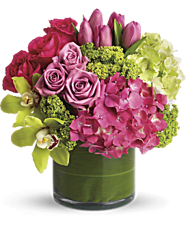 Like a girl's getaway to the tropics! Feminine flowers in tropical pastels brighten her day - and her feng shui. She'll love the beautiful serenity and balanced, Zen-like feel of the lush pink and green blooms. New Sensations - Green - Flower Delivery By Teleflora