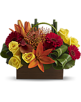 A little box of tropical sunshine! Bright orange, red and yellow blooms form a magical, modern mosaic inside a chic bamboo container. Gerberas - Bamboo Getaway - Red - Flower Delivery By Teleflora