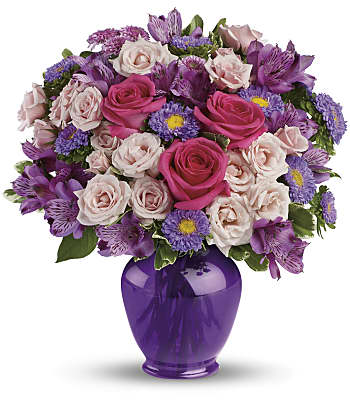 Purple Medley Bouquet with Roses Flowers