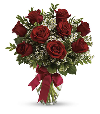Thoughts of You Bouquet with Red Roses Flowers