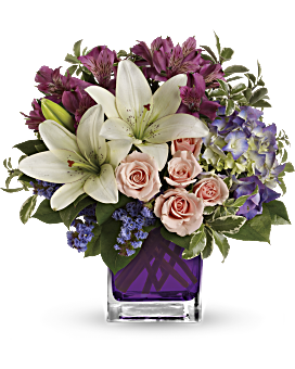 purple flowers arrangements delivered teleflora