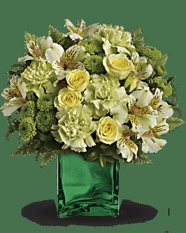 Arrangement floral avec Bouquet Élégance d'émeraude