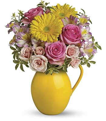 Teleflora's Sunny Day Pitcher Of Charm Flowers