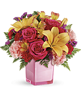 Pink flowers from pastel to hot pink teleflora quick view telefloras pop of fun bouquet bouquet mightylinksfo