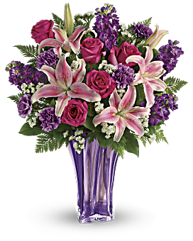 Whatever the occasion - when you truly want to spoil her, send this luxurious lavender arrangement! Deluxe and dramatic, this mix of lilies and roses in a gorgeous blown glass vase is a gift she won't soon forget. Luxurious Lavender Bouquet - Multi - Flower Delivery By Teleflora