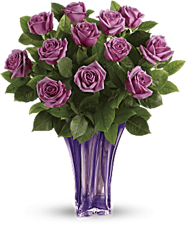 Simply stunning! She'll adore the simple, elegant splendor of lavender long stemmed roses presented in a glorious blown glass vase. Roses - Lavender Splendor Bouquet - Multi - Flower Delivery By Teleflora