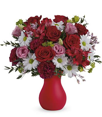 Teleflora's Kissed With Crimson Bouquet Flowers
