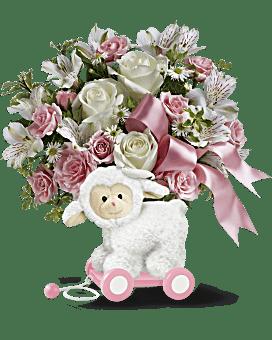 Agneau très doux de Teleflora – bouquet pour bébé rose