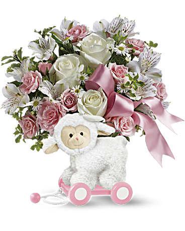 teleflora s sweet little lamb baby pink bouquet teleflora