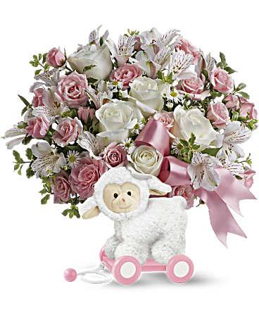 Font des emplettes le petit agneau arrangement floral de Sweey dans rose