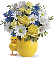 Teleflora's Sweet Peep Bouquet - Baby Blue Flowers