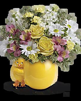 Bouquet Coucou de Teleflora – bouquet pour bébé rose