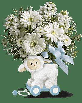 Agneau très doux de Teleflora – bouquet pour bébé bleu