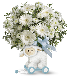 Sweet little Lamb Blue baby keepsake and  bouquet
