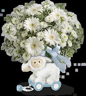 Sweet little Lamb Blue baby keepsake and  bouquet