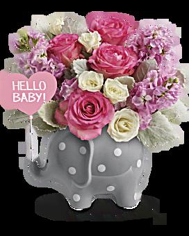 Bouquet Bonjour doux bébé de Teleflora – bouquet rose