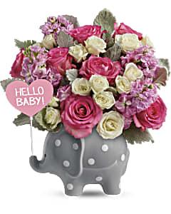 Shop Hello Sweet Baby flower arrangement in pink