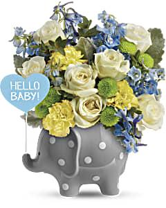 Shop Hello Sweet Baby flower arrangement in blue
