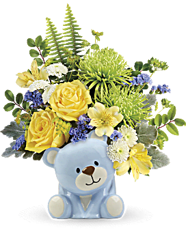 Teleflora's Joyful Blue Bear Bouquet Bouquet