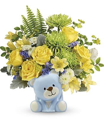 Teleflora's Joyful Blue Bear Bouquet Flowers