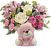 Teleflora's Precious Pink Bear Bouquet Flowers