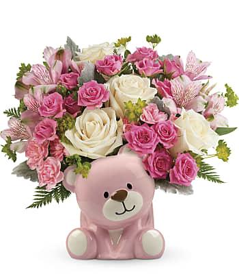 Precious Pink Bear Bouquet Flowers