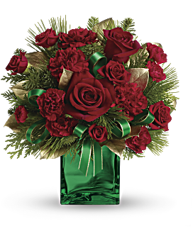 quick view telefloras yuletide spirit bouquet flower arrangement