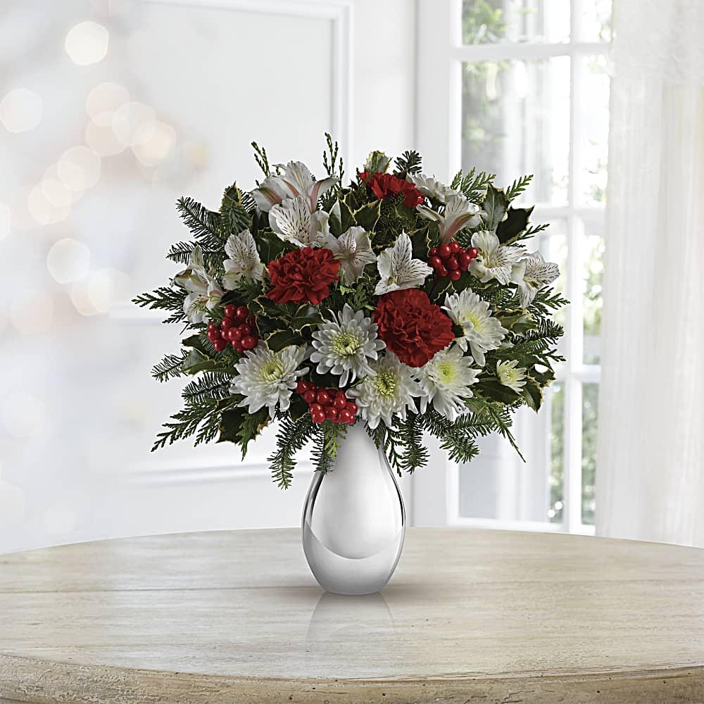 Bouquet De Noel Avec Du Houx bouquet argent et flocons de neige de teleflora   teleflora