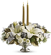 Teleflora's Silver And Gold Centrepiece Flowers