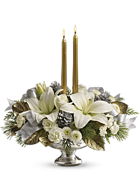 Teleflora's Silver And Gold Centerpiece  Bouquet