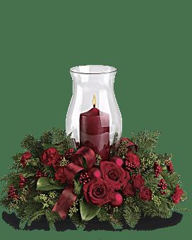 Holiday Glow Centerpiece Flower Arrangement