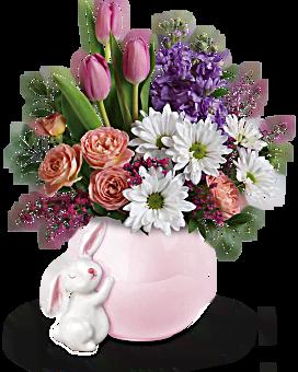 Teleflora's Send a Hug® Bunny Love Bouquet Flower Arrangement