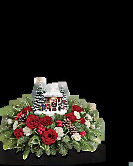 Thomas Kinkade's Jolly Santa Bouquet Flower Arrangement
