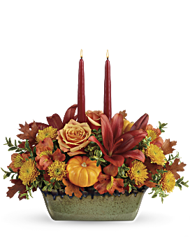 Teleflorau0027s Country Oven Centerpiece Flower Arrangement