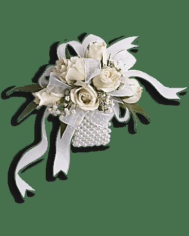 white whisper wristlet corsage teleflora